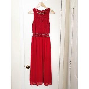 Sugarlips red lace cutout maxi dress size medium